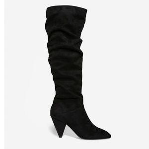 Express Black Faux Suede Slouchy Knee Boots